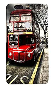 Omnam Red Double Decker Bus Printed Designer Back Cover Case For Huawei Honor V8
