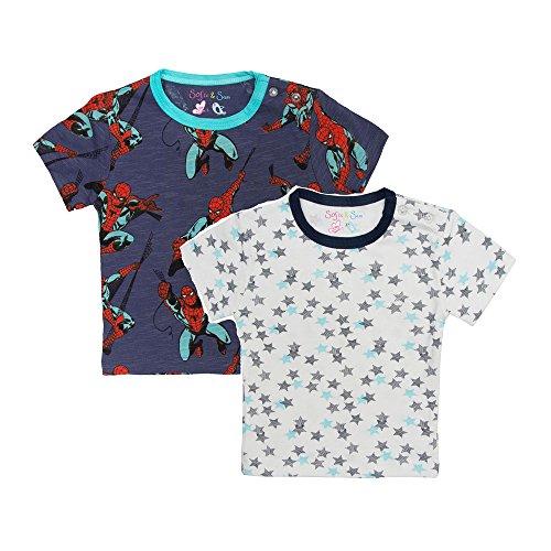 Sofie & Sam Bio-Baumwolle 2er-Pack Combo Baby Tees T-Shirt für 6 bis 9 Monate - Spider & Starry -