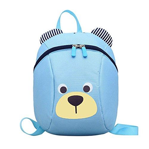 FRISTONE Süß Bär Mini Rucksack Kinder Babyrucksack Kindergartenrucksack Backpack Schultasche Kleinkind Mädchen Jungen mit Sicherheit Geschirre Zügel,Blau