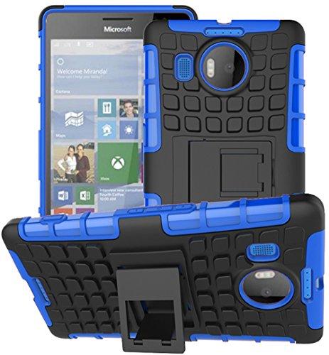 Microsoft Nokia Lumia 950 XL Hülle Nnopbeclik Hybrid 2in1 TPU+PC Schutzhülle Cover Case Silikon Rüstung Armor Dual Layer Muster Handytasche Backcover 360-Grad-Drehung ständer stoßfest Handy Hülle Tasche Schutz Etui Schale Bumper Pour Microsoft Nokia Lumia 950 XL 5.7 Zoll [Schwarz+Blau]