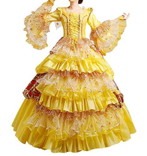 Renaissance Kleider Gotischen (Nuoqi Damen Viktorianisch Kleid Palace Mittelalterliche Kleider Cosplay Kostüm Satin Gotisch Maskerade Kleidung (40,)