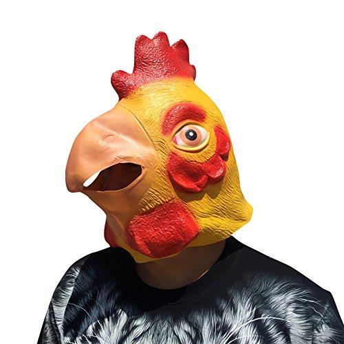 Cute Cock Rooster Huhn Chicken Hahn Hähnchen Maske mask aus sehr hochwertigen Latex Material mit Öffnungen an Augen Halloween Karneval Fasching Kostüm Verkleidung für Erwachsene Männer und Frauen Damen Herren gruselig Grusel Zombie Monster Dämon Horror Party (Rooster Erwachsene Kostüme)