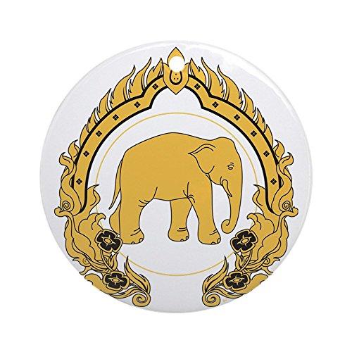 lephant-gold-black-Rund Urlaub Weihnachten Ornament ()