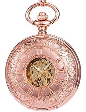 ManChDa Taschenuhr Spezielle rosa Rose Gold gravierte Gehäuse Double Hunter Skeleton White Zifferblatt Mit Kette...