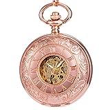 Reloj de bolsillo - Rosa rosada Dorado ManChDa Grabado Caso Doble Cazador Esqueleto - Best Reviews Guide