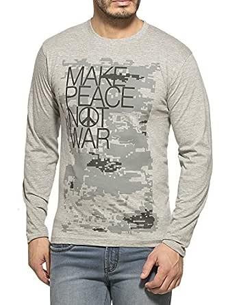 Alan Jones Clothing Men's Cotton T-Shirt (Stc-Peace-XXL_Grey_Xx-Large)