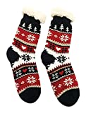 V3E Girl's Fur Socks (Multi-Coloured, 23fs5) Cotton with Fur Lining Socks Print Black Red Carpet Socks
