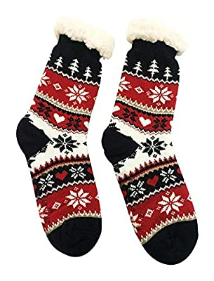 V3E Women's Fur Socks (Multi-Coloured, 23fs5) Cotton with Fur Lining Socks Print Black Red Carpet Socks
