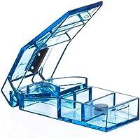 Tablettenteiler mit Stahlklinge und 2 Tablettenfächern für den Transport - modernes blau transparentes Design preisvergleich bei billige-tabletten.eu