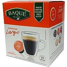 Cafés Baqué Cápsulas Compatibles Dolce Gusto Largo - 70 gr - [Pack de 4]