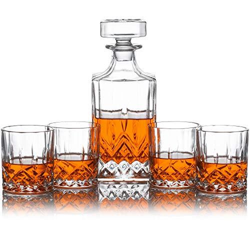 Emerson Dekanter Set für Whiskey, Wein oder Whisky. Dieser Leine Irish Schnitt Bar-Set beinhaltet eine 700ml Dekanter mit 4passende Gläser (Dekanter-set Irish)