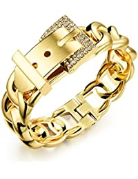 Asma 18K Gold Plated Classic Belt Style Bling Rhinestone Diamond Buckles Charm Bracelet For Women