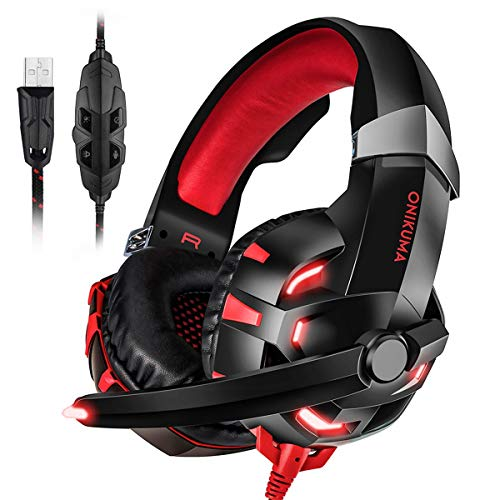 ONIKUMA K2 7.1 Virtual Surround Sound USB Gaming Headset with LED Light (Black/Red)