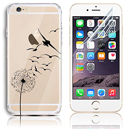 Coque iPhone 6s, Coque iPhone 6 6s Transparent Etui Housse de Protection TPU Silicone Gel Souple Clair Crystal Case Cover Sunroyal® Ultra Mince Premium Telephone Portable Skin Hybrid Clear Bumper [Abs Motif 14