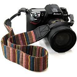 Beiuns - universales Retro colores raya - Grip Strap apretón de la mano de la correa de muñeca para DSLR SLR de la cámara cámaras réflex Canon Nikon Panasonic Sony Olympus