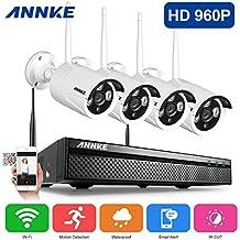 ANNKE Kit Videosorveglianza Wifi NVR 1080P 4 Canali 4 IP Telecamera Sorveglianza 960P Kit Wireless H.264 P2P IP66 Avviso E-mail Antenna Estensione 100ft/30m Manuale Italiano senza HDD