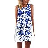 TUDUZ Damen Sommer Vintage Boho Ärmelloses Sommerstrand Gedruckt Kurzes Minikleid Blumenkleid T-Shirt Tops Kleider-Faschingskostüme (Weiß-H, S)