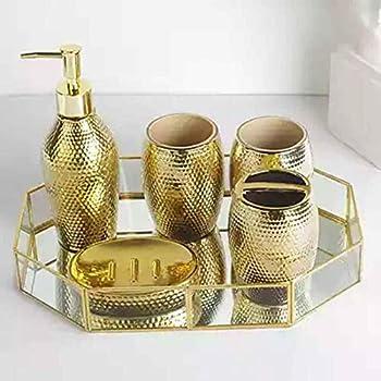 bicchiere 5/pezzi in resina bagno insieme compreso dispenser di sapone porta spazzolino da denti porta sapone Grey Yiyida lusso barocco oro accessori bagno