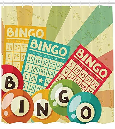 Nyngei Vintage Decor Duschvorhang Bingo Spiel mit Ball und Karten Pop Art Stilisierte Lotterie Hobby Feier Thema Stoff Badezimmer Dekor Set mitGelb Grün (Spielen Bingo-spiel-karte)