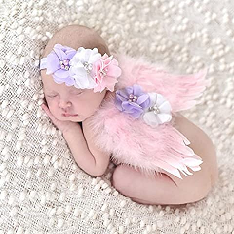 EQLEF® Belle Angel Baby Feather Butterfly Wings Newborn photo Prop Filles Accessoires cheveux