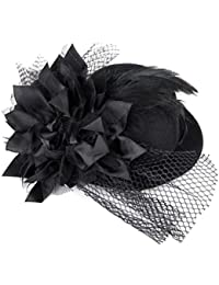Diseño de flores de plumas Tinksky Decor adornos para isla japonesa Burlesque Punk Mini sombrero para mujer - talla única (negro)