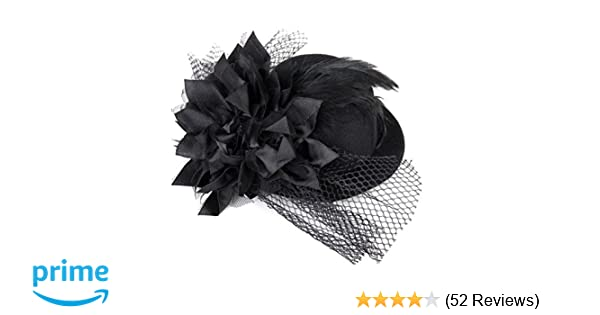 UEETEK Mini Top Hat on Headband with Sequin Trim and Netting Black One Size
