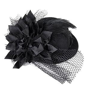 Tinksky Blumenmuster, Haarspange mit Federn, Mit Haarclip, Burlesque, Punk Mini Hut für Damen, Einheitsgröße, Schwarz