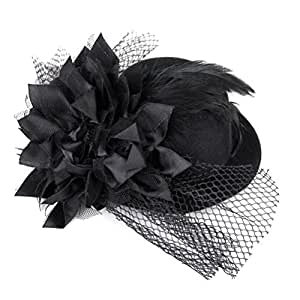 WINOMO Flower Decor Hair Clip Feather Fascinator Burlesque Punk Mini Top Hat for Women - One Size (Black)