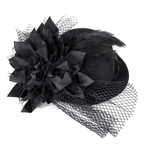 WINOMO Flower Decor Hair Clip Feather Fascinator Burlesque Punk Mini Top Hat for Women - One Size (Black) Test