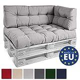 Beautissu Palettenkissen ECO Style Rückenkissen 120x40x10-20 cm Palettenauflage Palettenpolster mit Oeko-TEX in Hellgrau & div Farben wählbar