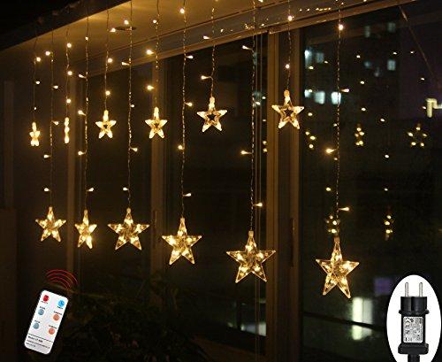 SMITHROAD LED Sternen Lichterkette Warmweiß Lichtervorhang mit Fernbedienung Timer 31V Niederspannung IP44 mit 8 Lichteffekte für Innen Außen Weihnachtsbeleuchtung Fenster Deko 2,2M x0,9M(LxB)