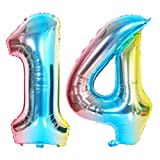 DIWULI, XXL Zahlen-Ballons, Zahl 14, blau bunt Schillernde Regenbogen Luftballons, Zahlenluftballons, Folien-Luftballons Nummer Jahre, Folien-Ballons 14. Geburtstag, Party, Dekoration, Geschenk-Deko