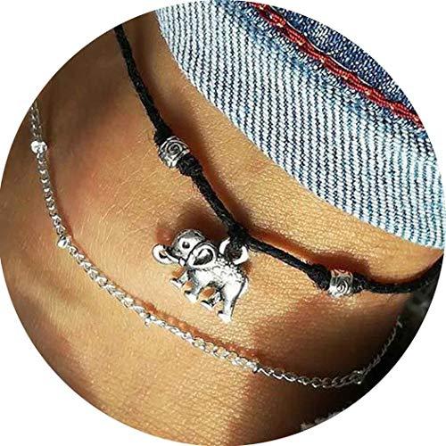 Simsly, Fußkettchen mit Elefantenanhänger, Schmuck für Frauen und Mädchen (Silber)