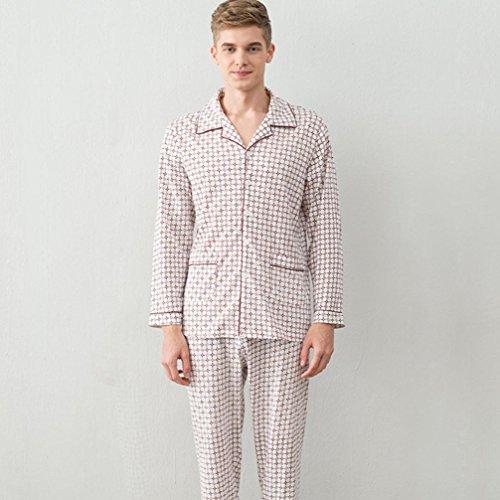 DMMSS Frühling Herbst Männer Einfach Dünner Gestrickter Baumwolle Pyjama Set , 5 , (Baby Türkei Kostüme)