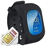 Hangang Smartwatch Bambini GPS Tracker SOS Chiamata Localizzatore GPS Tracker per bambini anti lost Monitor Baby Son Orologio da polso nero