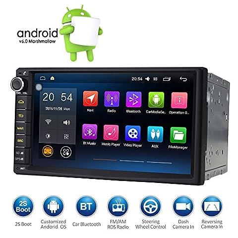 Masione Android 6.0 Marshallow Autoradio Bluetooth Quad Core HD 1080P Double Din 7 Inch Touch Screen UNIVERSAL GPS Navigation FM AM RDS Radio EQ Display AUX 3G/4G WIFI OBD2 mit Lenkradsteuerung Mirror link und Externes Mikrofon