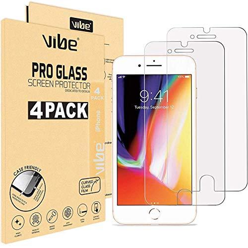 VIBE [4 Stück] Panzerglas Schutzfolie für iPhone 8 Plus/iPhone 7 Plus [5,5 Zoll Folie], Japanische 9H Härte, Anti-Kratzer, Anti-Öl, Anti-Bläschen Panzerglasfolie