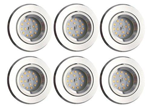 Trango 6er Set dimmbaren LED Einbaustrahler TG6737R-06MD I Einbauleuchten I Deckenstrahler I Deckenleuchten I Badleuchten aus hochwertig gedrehtem Aluminium inklusive 6x LED Modul dimmbar mit nur 30mm ultra flache Einbautiefe