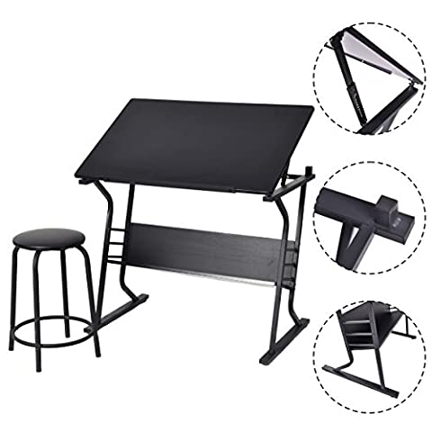 Costway Tiltable Tabletop Drawing Board Table Art Craft Drafting Easel Desk W/ Stool