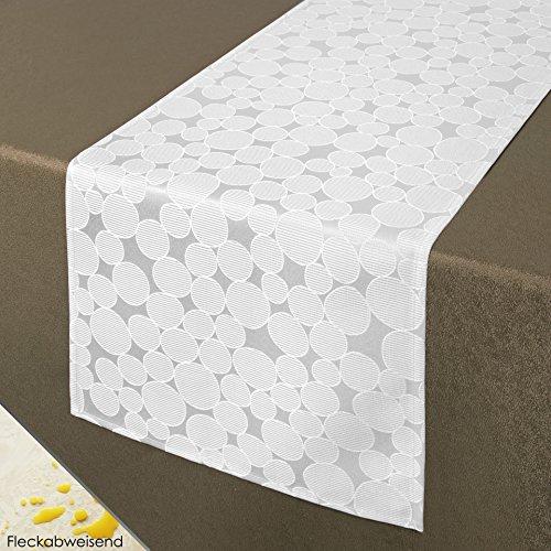 Tischläufer Tischdecke ROM / Kreis-Muster / 40x140 cm / weiß