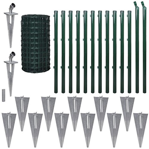 Festnight Ensemble de clôture Grillage de Pelousea Vert Grillage Cloture Jardin en Acier avec Accessoires 1.7 m x 25 m