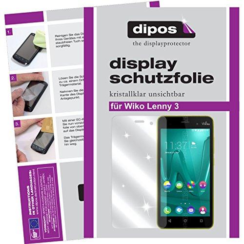dipos I 2X Schutzfolie klar passend für Wiko Lenny 3 Folie Bildschirmschutzfolie