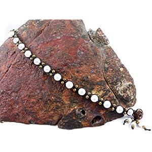 Echte Perlen Fußkettchen Makramee Thailand Fußband Boho Tribal Surfer Weiß Muschelperle