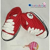 Patucos para Bebé Recién Nacido tipo Converse, 0-3 meses Rojo. Hecho a Mano. Crochet. España