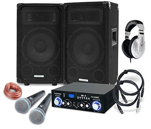 McGrey DJ Karaoke Komplettset PA Anlage Party-1000 (Lautsprecher, 2 x 300 Watt, Bluetooth-Endstufe, Verstärker, Lautsprecherkabel, Kopfhörer, Mikrofon, Klemme, Reduziergewinde, Etui, Mikrofonkabel)