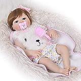 Lifelike Reborn Baby Doll, 22 Pouces en Vinyle Souple Membres, Tissu Corps Yeux Bleus avec Sucette et Bouteille