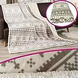 PROHEIM Premium Winter-Wohndecke 150 x 200 cm Nordic in Grau aufwendig verarbeitete Kuscheldecke edle und hochwertige Winterdecke mit Rückseite in Sherpa Optik