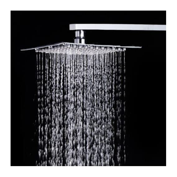 SBD Ultra Thin SS Square 200mm (8X8) Rain Shower with SS Square Shower Arm Combo (Stainless Steel 302, with 15 inch Arm)