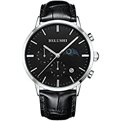 Mens Daytime And Night Display Watches Full Genuine Leather Male Waterproof Casual Dress Sport Wrist watches Silver