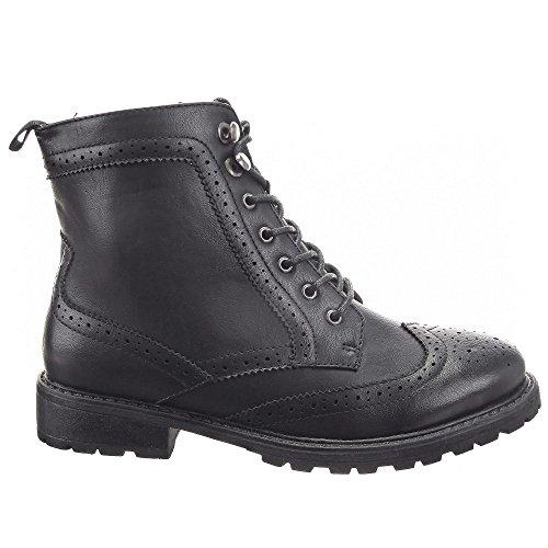Sopily - Scarpe da Moda Stivaletti - Scarponcini scarpa derby Low boots alla caviglia donna Lines Zip Tacco a blocco 3 CM - soletta tessuto - Nero FRF-L97 T 38 - UK 5